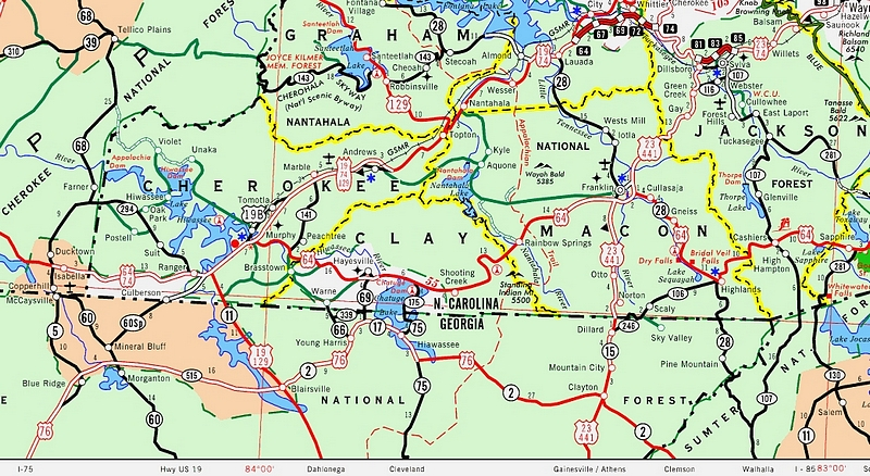 Road Map Of Western North Carolina Georgia Map - North carolina road map