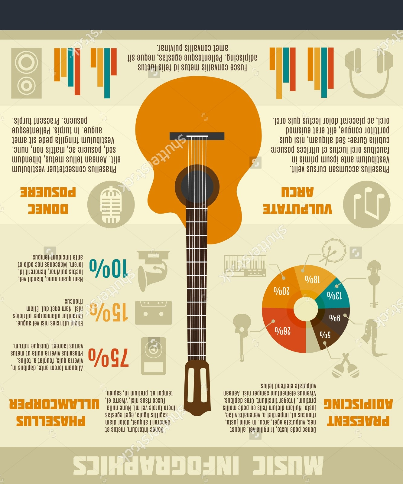Music Infographics Guitar Stock Vector